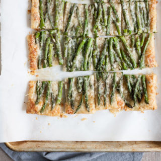 Spring Asparagus Galette | BourbonandHoney.com -- Cheesy, crispy and packed with veggies, this Spring Asparagus Galette is perfect for Easter, Mother's day or a family brunch!