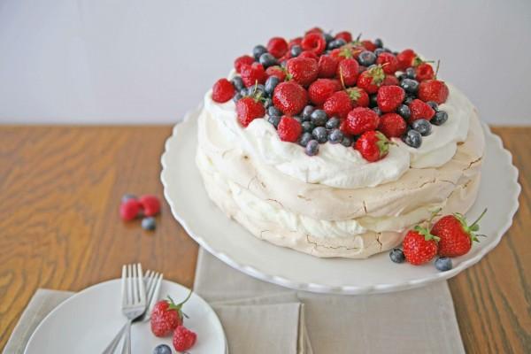 Red, White and Blue Berry Pavlova | BourbonAndHoney.com