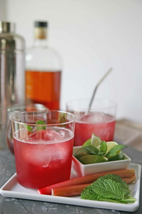 Rhubarb-Berry Bourbon Smash Cocktail | BourbonAndHoney.com