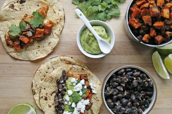 Sweet Potato and Black Bean Tacos | BourbonAndHoney.com