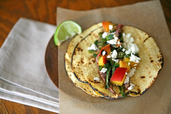 Flank Steak Tacos with Peach Salsa |BourbonAndHoney.com
