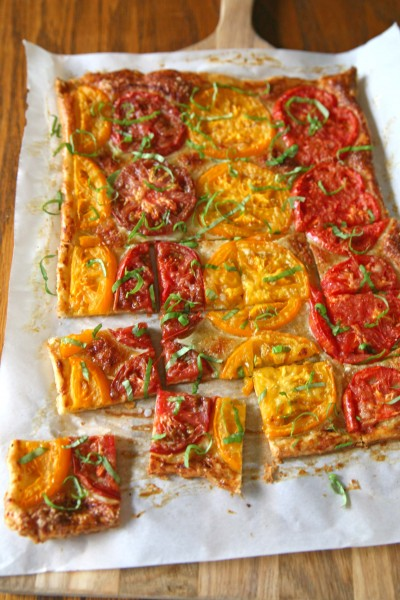Heirloom Tomato Tart | BourbonAndHoney.com -- Quick, easy and fabulous, this Heirloom Tomato Tart is made with fresh tomatoes parmesan cheese. Perfect when served with a salad and a glass of white wine.