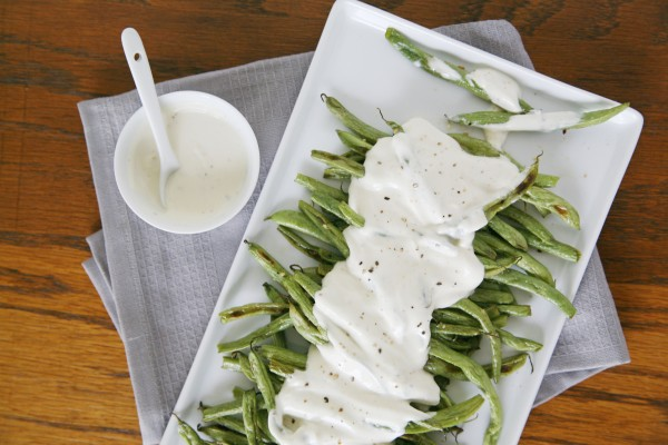 Roasted Green Beans with Yogurt Dressing | BourbonAndHoney.com