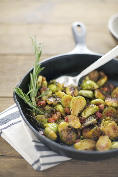 Maple Glazed Brussels Sprouts with Pancetta | BourbonAndHoney.com