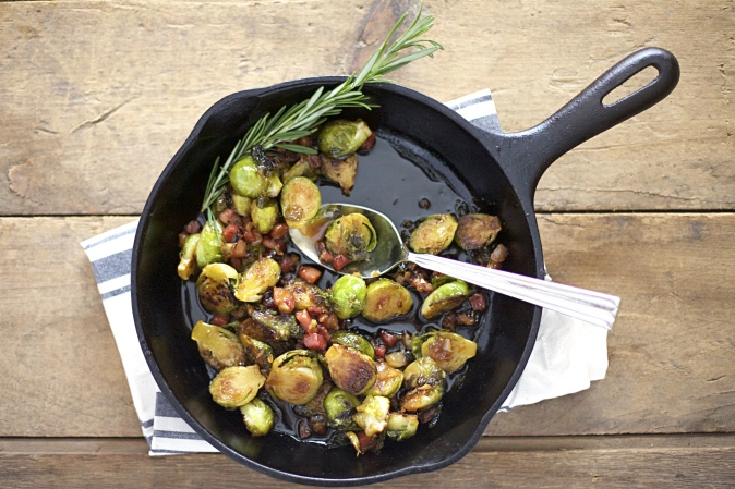 Maple Glazed Brussels Sprouts with Pancetta| BourbonAndHoney.com