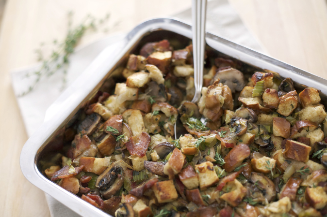 Pretzel Bread Stuffing with Bacon, Leeks and Mushrooms ...