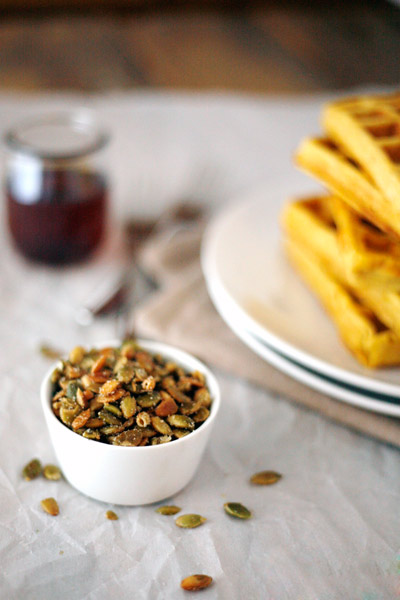 Pumpkin Spice Waffles with Maple Cream and Pepitas | BourbonAndHoney