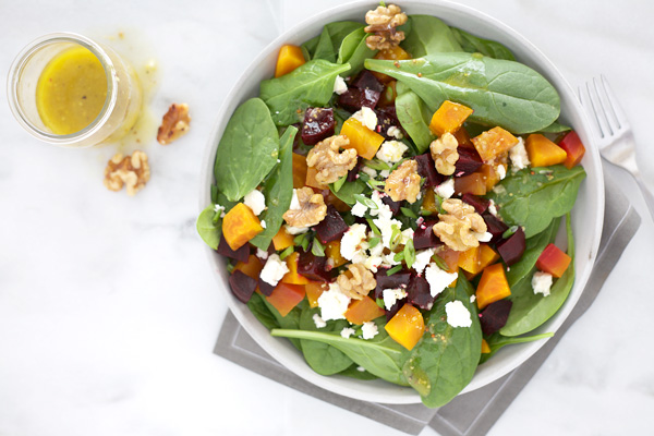 Beet Salad with Feta and Spiced Walnuts | BourbonandHoney.com