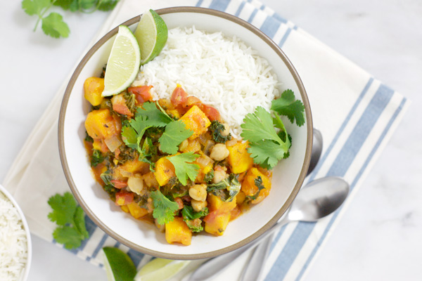 Slow Cooker Sweet Potato Curry with Chickpeas | BourbonandHoney.com