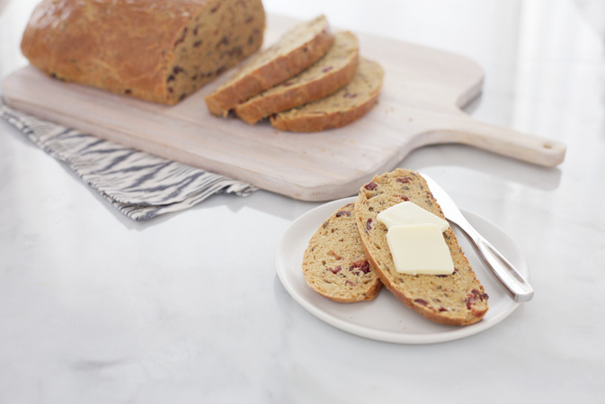 Cranberry Wild Rice Bread | BourbonAndHoney.com -- This Cranberry Wild Rice Bread is stuffed with tart cranberries and hearty wild rice. It's great for breakfast or afternoon snack with a hearty smear of peanut butter, jam or butter.
