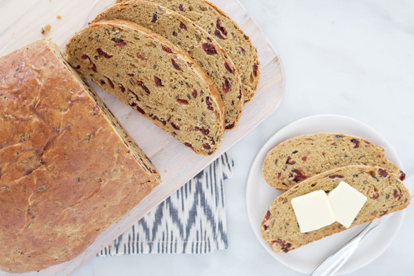 Cranberry Wild Rice Bread | BourbonAndHoney.com -- Cranberry Wild Rice Bread | BourbonAndHoney.com -- This Cranberry Wild Rice Bread is stuffed with tart cranberries and hearty wild rice. It's great for breakfast or afternoon snack with a hearty smear of peanut butter, jam or butter.