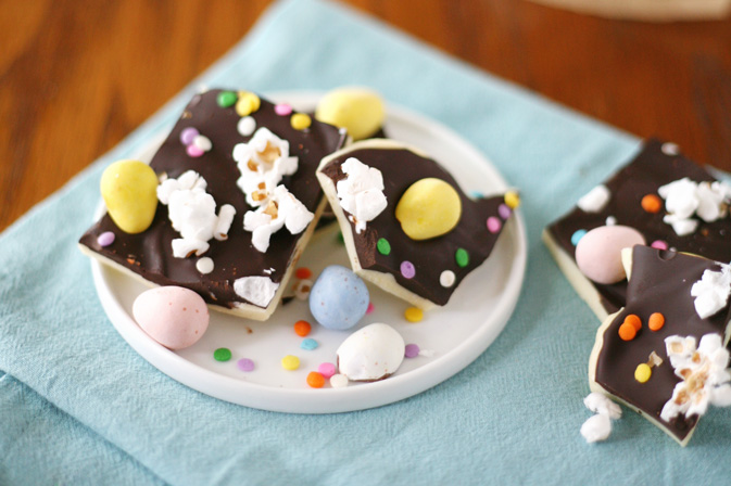 Layered Chocolate Easter Egg Bark