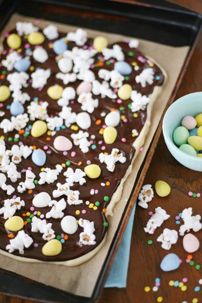 Layered Chocolate Easter Egg Bark | BourbonandHoney.com
