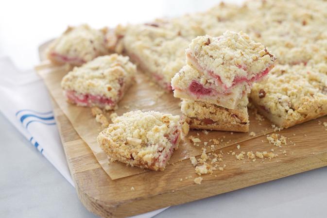 Raspberry Rhubarb Crumb Bars
