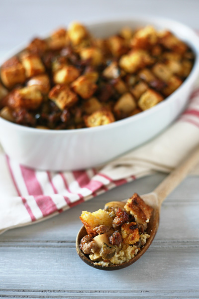 Cornbread Dressing with Sausage and Apples | BourbonandHoney.com