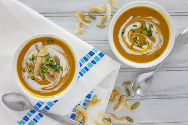 Slow Cooker Butternut Squash Soup with Coconut and Pepitas | BourbonandHoney.com