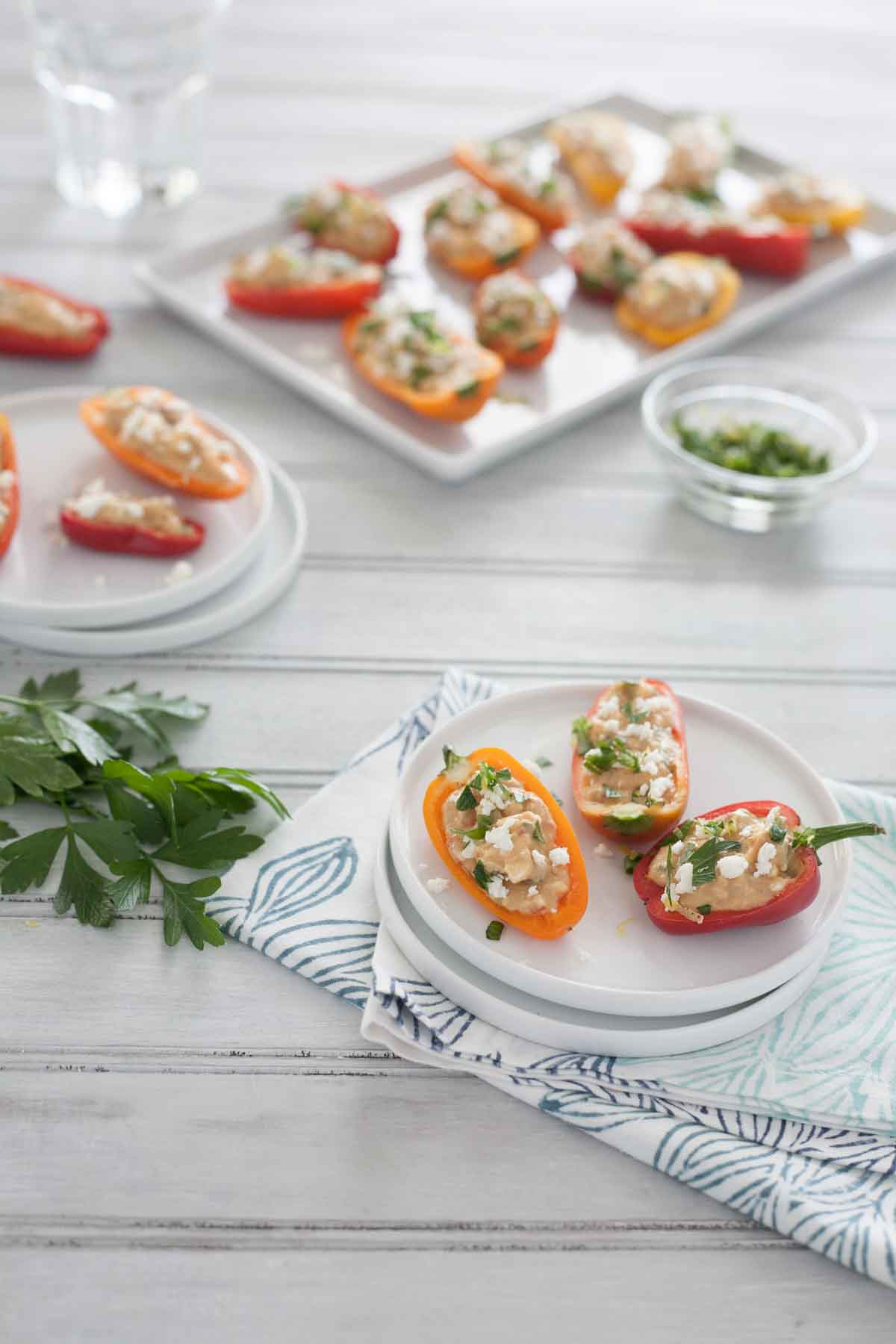 Feta and Hummus Stuffed Mini Peppers | BourbonandHoney.com