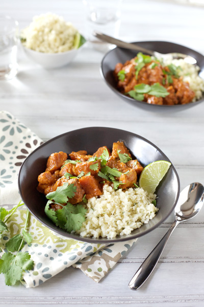Slow Cooker Butter Chicken | BourbonandHoney.com -- Sweet potatoes and red Thai curry make this Slow Cooker Butter Chicken irresistible and quick to make.