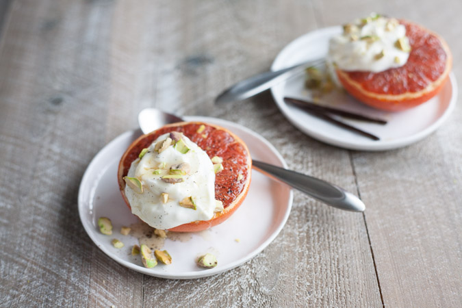 Broiled Grapefruit with Honey Yogurt and Pistachios