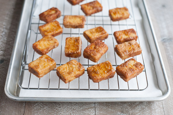 Crispy Marinated Tofu | BourbonandHoney.com -- Spicy and savory, this Crispy Marinated Tofu is a flavorful and delicious way to serve a vegetarian favorite.