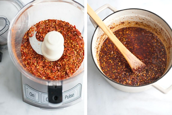 Crunchy Chile Sauce | BourbonandHoney.com -- This hot sauce is savory, spicy and totally delicious. Spoon it on everything from rice bowls to scrambled eggs, roasted veggies or nachos.