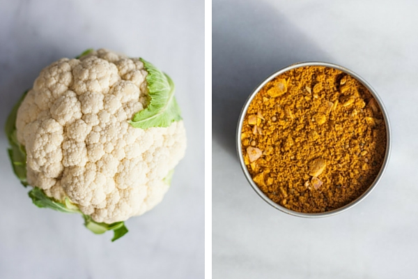 Curry Roasted Cauliflower | BourbonandHoney.com -- Super simple but flavorful and delicious, this Curry Roasted Cauliflower is a tasty side paired with chicken, pasta or added to a salad.