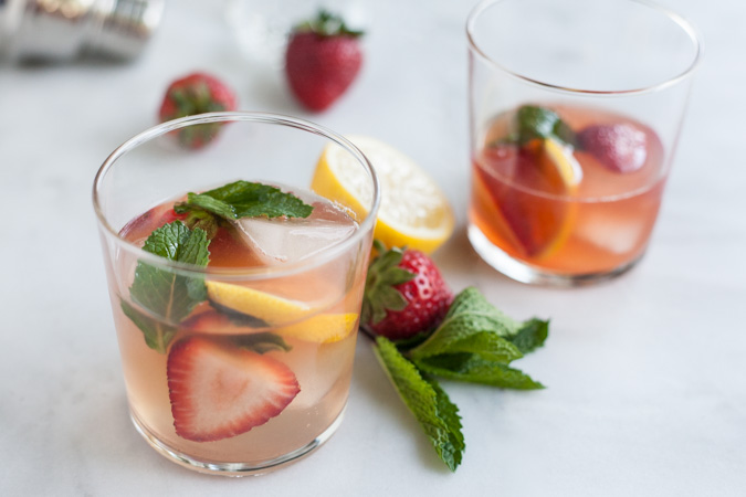 Bourbon and Honey Strawberry Smash Cocktail