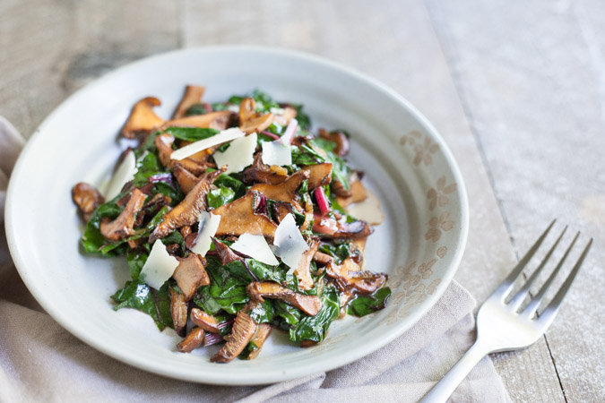 Wild Mushrooms with Wilted Greens
