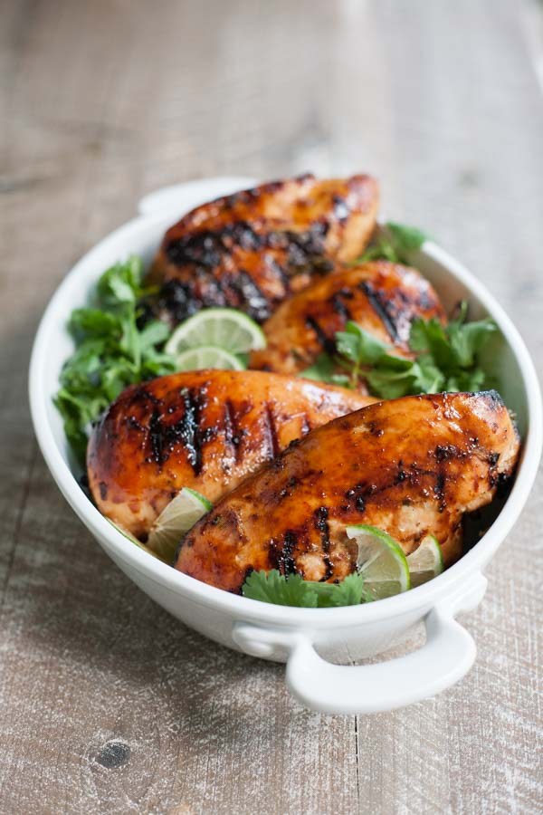 Bourbon and Honey Cilantro Lime Chicken | BourbonandHoney.com -- This make-ahead Bourbon and Honey Cilantro Lime Chicken is a flavorful twist on an old favorite and perfect for a weeknight dinner or weekend party!