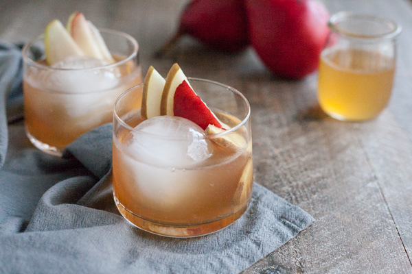 Bourbon and Honey Ginger Pear Cocktail