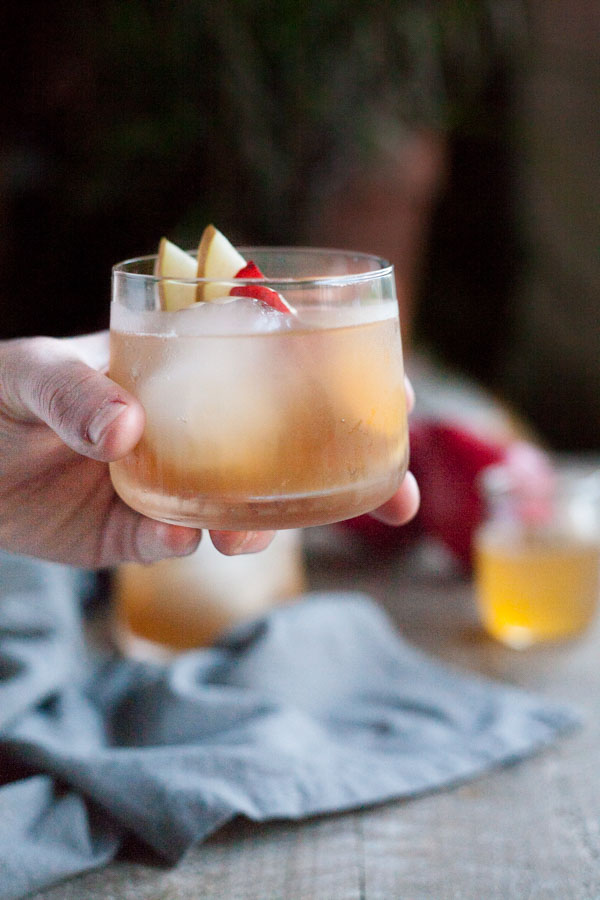 Bourbon and Honey Ginger Pear Cocktail | Bourbonandhoney.com -- Slightly sweet, fruity and complex, this Bourbon and Honey Ginger Pear Cocktail is a simple seasonal cocktail perfect for holiday celebrations!