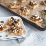 Caramelized Onion and Apple Tarts with Blue Cheese and Cranberries   BourbonandHoney.com -- These super flavorful Caramelized Onion and Apple Tarts with Blue Cheese and Cranberries are the perfect bite sized appetizer!