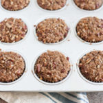Gingerbread Muffins with Ginger Pecan Crumble | BourbonandHoney.com -- These melt-in-your-mouth Gingerbread Muffins with Ginger Pecan Crumble are seriously flavorful and perfect for breakfast, brunch or a sweet snack!