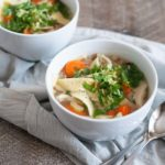 Hearty Slow Cooker Chicken Noodle Soup | BourbonandHoney.com -- Comforting, easy and hearty this Slow Cooker Chicken Noodle Soup is just the thing for when you're feeling crummy or needing to keep warm on a chilly winter day.