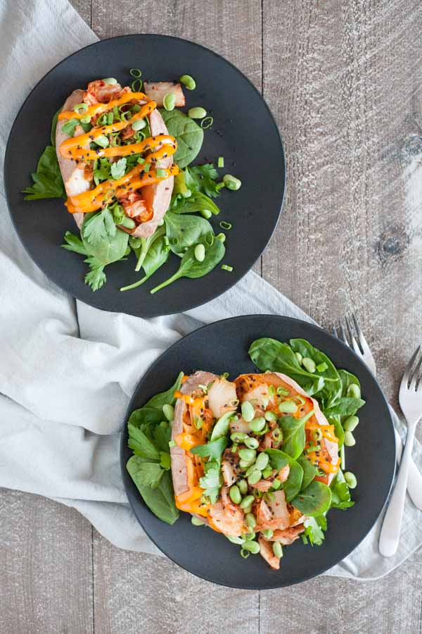 Kimchi Stuffed Baked Sweet Potatoes | BourbonandHoney.com -- These simple Spicy Kimchi Stuffed Baked Sweet Potatoes are a fun and flavorful veggie packed dinner or desk lunch recipe!
