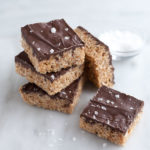 Salted Dark Chocolate Nutella Scotcheroos | BourbonandHoney.com -- Salty, sweet and super chocolatey, these salted dark chocolate and Nutella Scotcheroos are the perfect snack or sweet treat.