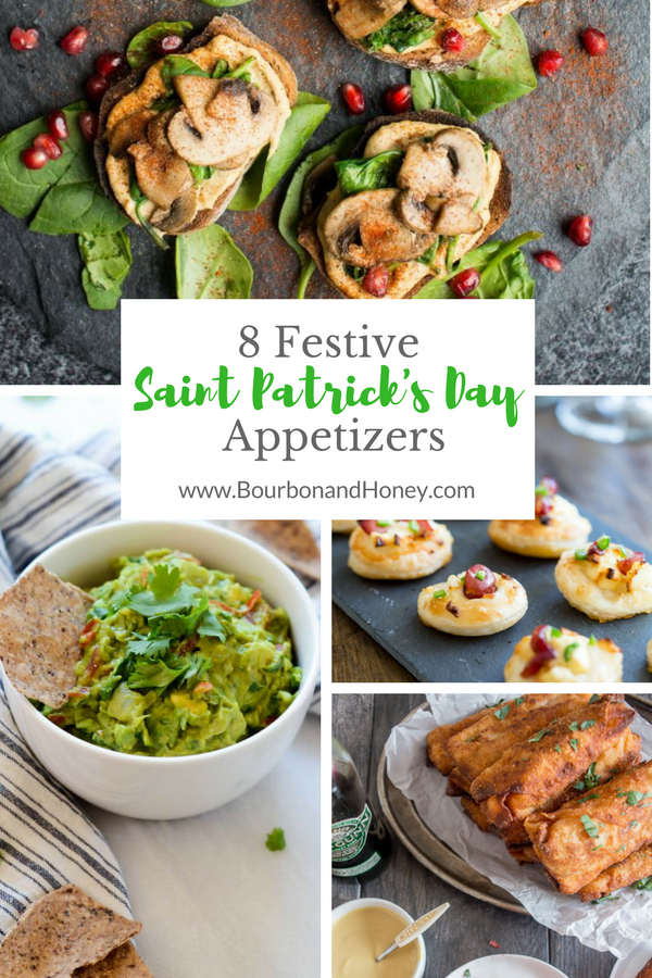 8 Festive Saint Patrick's Day Appetizers | BourbonandHoney.com -- Skip the green beer and celebrate the luck of the Irish with this recipe collection of cocktails, appetizers and festive treats!