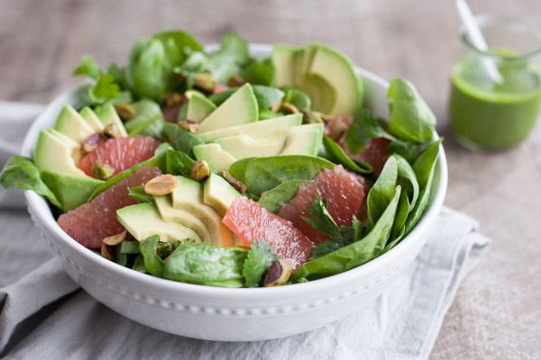 Grapefruit Avocado Salad with Cilantro Dressing