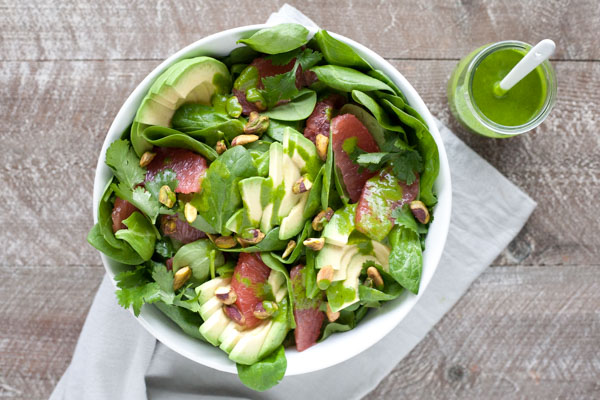 Grapefruit Avocado Salad with Cilantro Dressing | BourbonandHoney.com -- Bright, fresh and flavorful this Grapefruit Avocado Salad with Cilantro Dressing is hard to beat no matter the season!