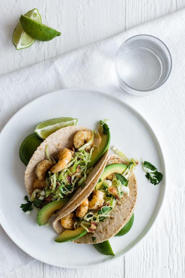 Shrimp-Tacos-with-Cilantro-Lime-Bacon-Slaw-gluten-free-paleo | DownShiftology