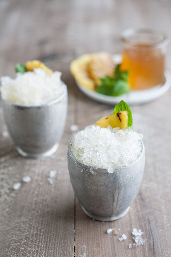 Bourbon and Honey Grilled Pineapple Mint Julep | BourbonandHoney.com -- This Pineapple Mint Julep is a tropical and refreshing twist on a traditional cocktail! It's the perfect, slightly sweet and ultra boozy derby day drink!
