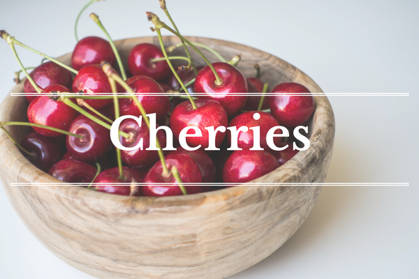 What's in Season: Cherries | BourbonandHoney.com -- From mangos and cucumbers to blackberries and swiss chard this 'What's in Season' feature is a collection of the best fruits, veggies and recipes for the month of June.