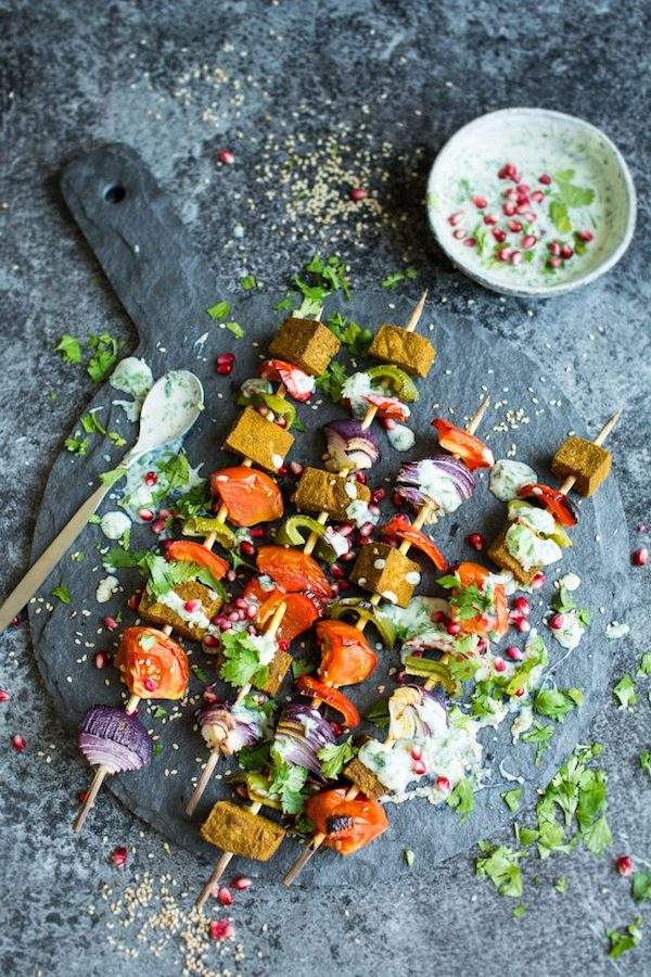 Grilled Tofu Kebobs with Vegan Herb Yoghurt Drizzle | Lauren Caris Cooks
