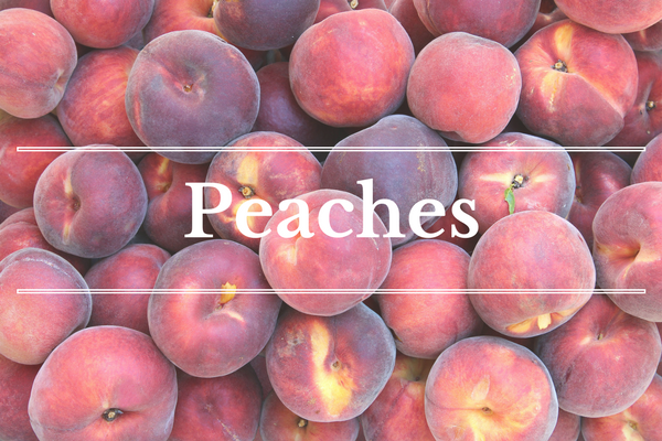 What's in Season: Peaches | BourbonandHoney.com -- From corn and eggplant to green beans and peaches this 'What's in Season' feature is a collection of the best fruits, veggies and recipes for the month of July.