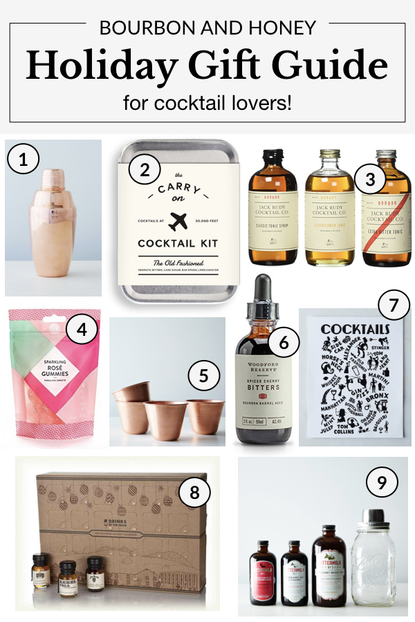 Bourbon and Honey Holiday Gift Guide for Cocktail Lovers | BourbonandHoney.com -- From copper Moscow Mule cups to cocktail kits and a boozy advent calendar, this 2017 Holiday Gift Guide has something for everycocktail lover in your life!