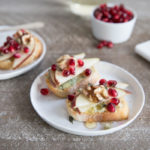 Pear and Blue Cheese Crostini with Thyme and Honey | BourbonandHoney.com